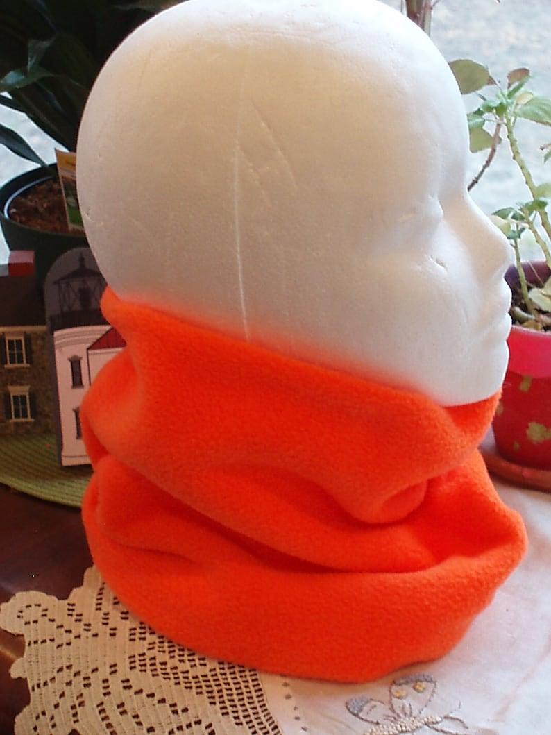 SALE Neon Safety Blaze Orange Polar Fleece Ski Scarf Neckwarmer Ear Muff Tube Gator Cowl Gaiter fits 3 to 5 years