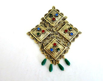Sarah Coventry Jewels of India Dangle Brooch Gold Tone