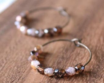 multi tortoise shell czech glass hoop earrings