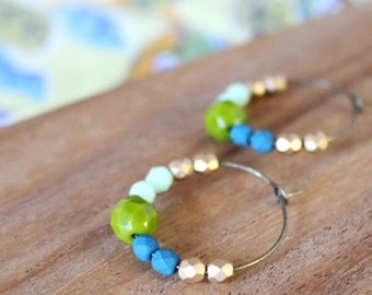 mint, navy, olive, gold czech glass hoop earrings