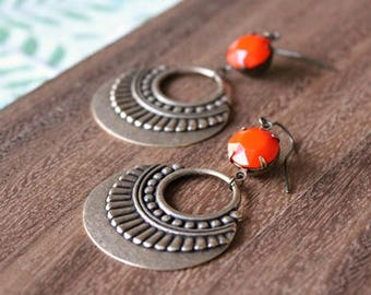 vintage glass gem + vintage brass earrings - tangerine