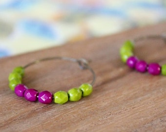 olive and orchid pink czech glass hoop earrings