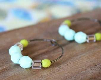 charteuse, mint, champagne czech glass hoop earrings