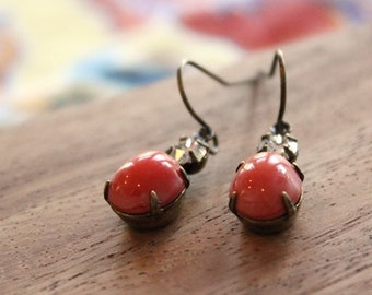vintage glass earrings - coral