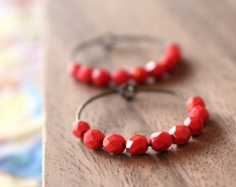 bright coral pink czech glass hoop earrings