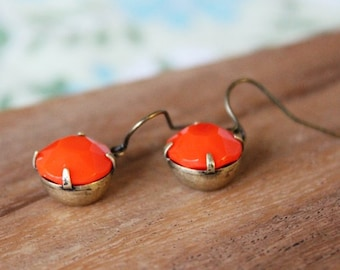 vintage glass earrings - tangerine