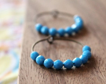 bright ocean blue czech glass hoop earrings