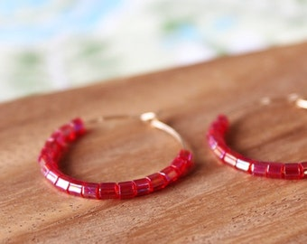 gold filled pink raspberry czech glass hoop earrings
