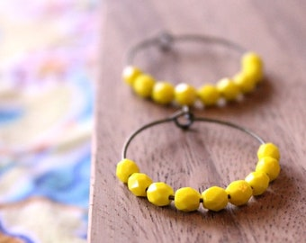 bright lemon yellow czech glass hoop earrings