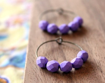 bright purple czech glass hoop earrings