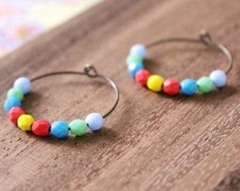 bright multi czech glass hoop earrings