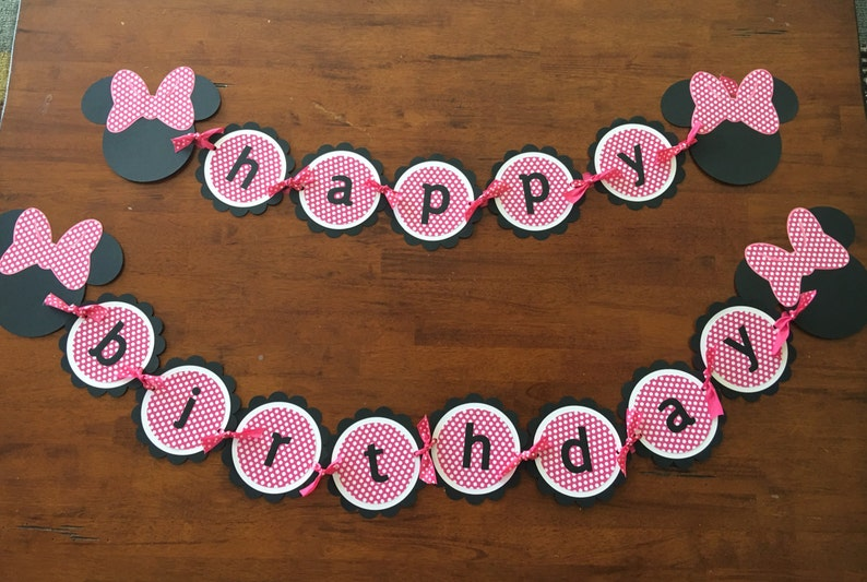 Minnie Mouse Birthday Banner Mickey Party Decorations