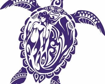 Car Window Bumper Sticker Polynesian Tribal Turtle