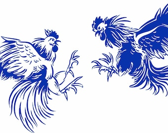 pretty nice c2647 c4e0f Fighting Chicken Rooster Cockfight Gamecocks Spurs Cockpit. Farm Car Truck  Window Laptop Sign Vinyl Decal Sticker