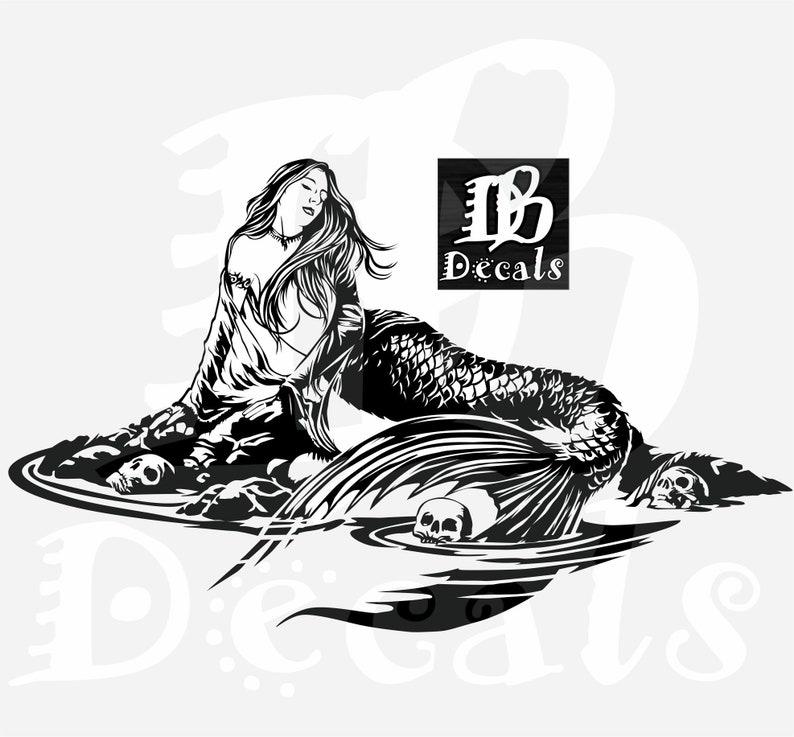 f9accb326bba7 Mermaid Sexy Girl Siren Water Skull Tattoo Fantasy Fish Car