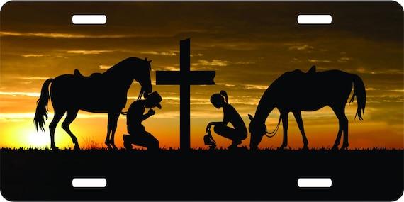 Cowboy Church Cross Child Praying Car Truck Window Laptop Vinyl Decal Sticker.