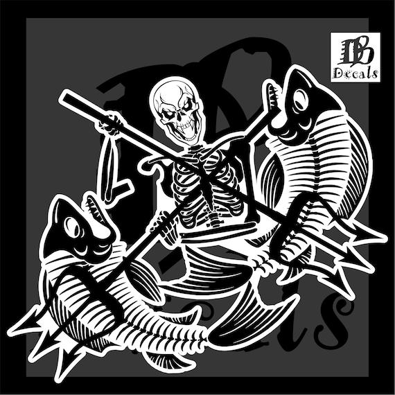 Fish Reaper Skull Fishing Rod Car Boat Water Truck Window Vinyl Decal Sticker