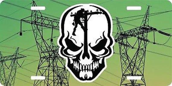 Lineman linemen skull journeyman electrician pole license plate car truck tag