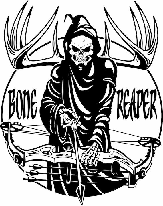 Archery Grim Reaper Bow Arrow Hunting Hunter Window Laptop Vinyl Decal Sticker
