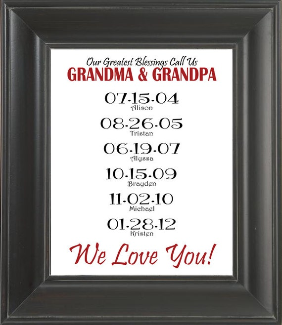 Items similar to Personalized GRANDPARENTS Gift with ...