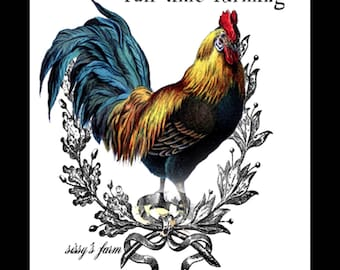 Vintage Antique Perry Rooster Farm Rustic Digital Download 5x7