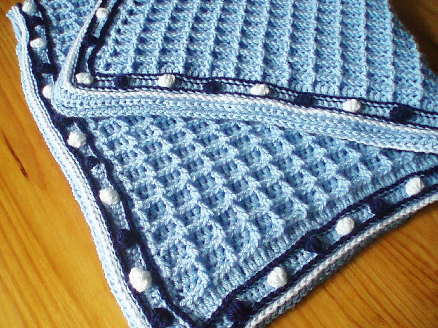 Crochet Pattern For Baby Blanket In Waffle Weave With Bobble Etsy