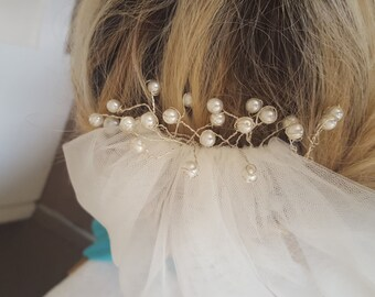 Handmade ethereal Czech pearl dreamy bridal comb.