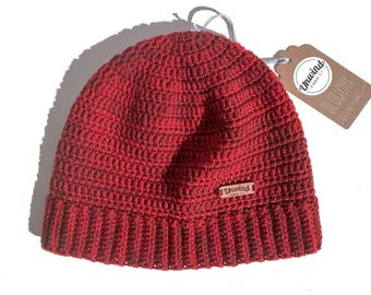 Red Wool Slouchy Beanie from Sweater Yarn