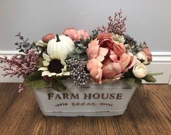 725d0209817a Floral Fall Centerpiece - Pumpkin Centerpiece - Farmhouse Centerpiece -  Fall Table Decor - White Pumpkin Decorations - Thanksgiving Decor