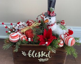 whimsical christmas decorations snowmen decorations christmas centerpiece for table christmas decor holiday decor whimsical centerpiece