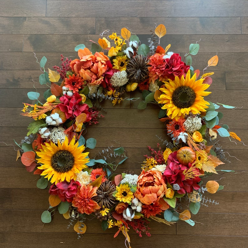 Large Fall Wreath Fall Sunflower Wreath Fall Wreaths With Etsy