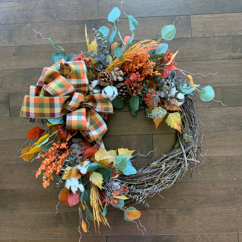 Fall Wreath With Bow Autumn Wreath Fall Wreath Farmhouse Etsy