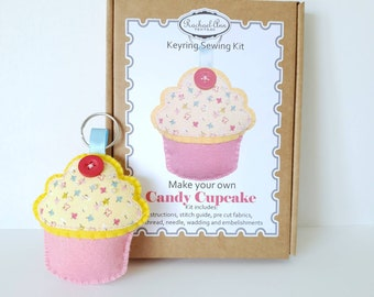 206c580fc2f Make your own Candy cupcake felt keyring. Easy beginner embroidery kit