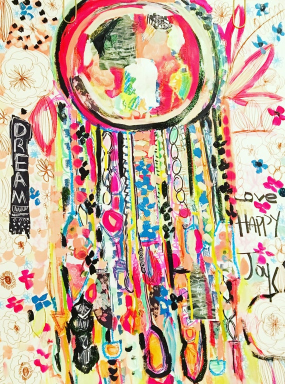 Large Dreamcatcher Drawing Dreamcatcher Painting Abstract Floral Tropical Flowers Bulgarian Art Bohemian Abstract Flowers Expressive