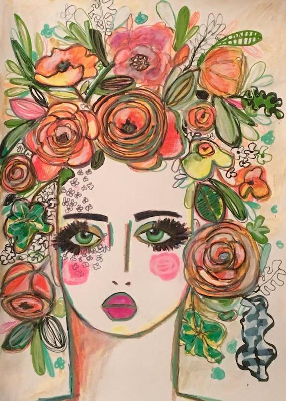 Goddess art folk art art bohemian portrait art woman portrait floral abstract portrait fashion portrait spiritual portrait abstract