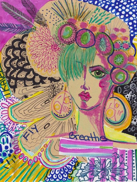 Mixed Media Art Journal Faces