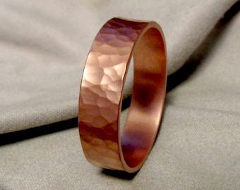 Matte Hammered Copper Ring Hammered Ring Handmade Thick Ring Made to Size Custom Engraving