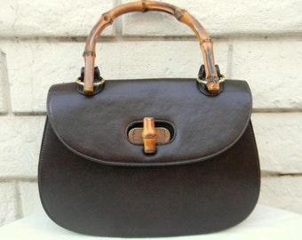 36940ceb2 Vintage MEYERS USA Gucci Style Brown Handbag With Bamboo Handle And Knob