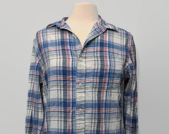 f6f6751caf128 Vintage Distressed Oversize Blue White and Pink Flannel Shirt for Women  Size Small