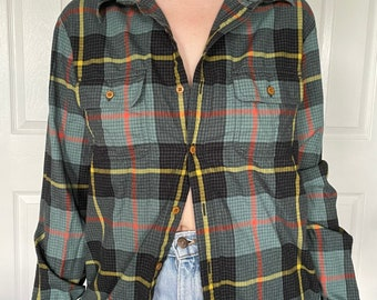 ON SALE GreenBlue Plaid Cotton Flannel shirt from 90/'sgrungeUnisex