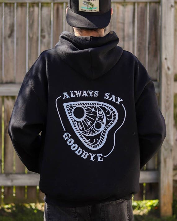Black Zip Up Planchette Hoodie in Multiple Sizes, Unisex Sweatshirt, Spirit Board Hoodie, Witchy Shirt, Witchy Woman, 90s Grunge