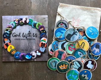 """Gift Set: Jesse Tree """"God With Us"""" Book + Advent Ornaments (Ornaments made of paper stickers on wood)"""