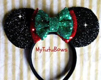 READY To SHIP CHRISTMAS Holiday Minnie Mouse Ears Headband Double Sequin Bow Red and Green Fits Adults and Children Glitter Sparkle