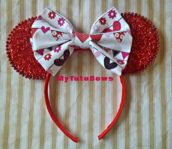 RED Sparkle MINNIE MOUSE EARS Valentine/'s Day Headband Shimmer Bow Mickey LOVE