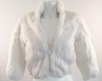 Cream White Rabbit Fur Coat