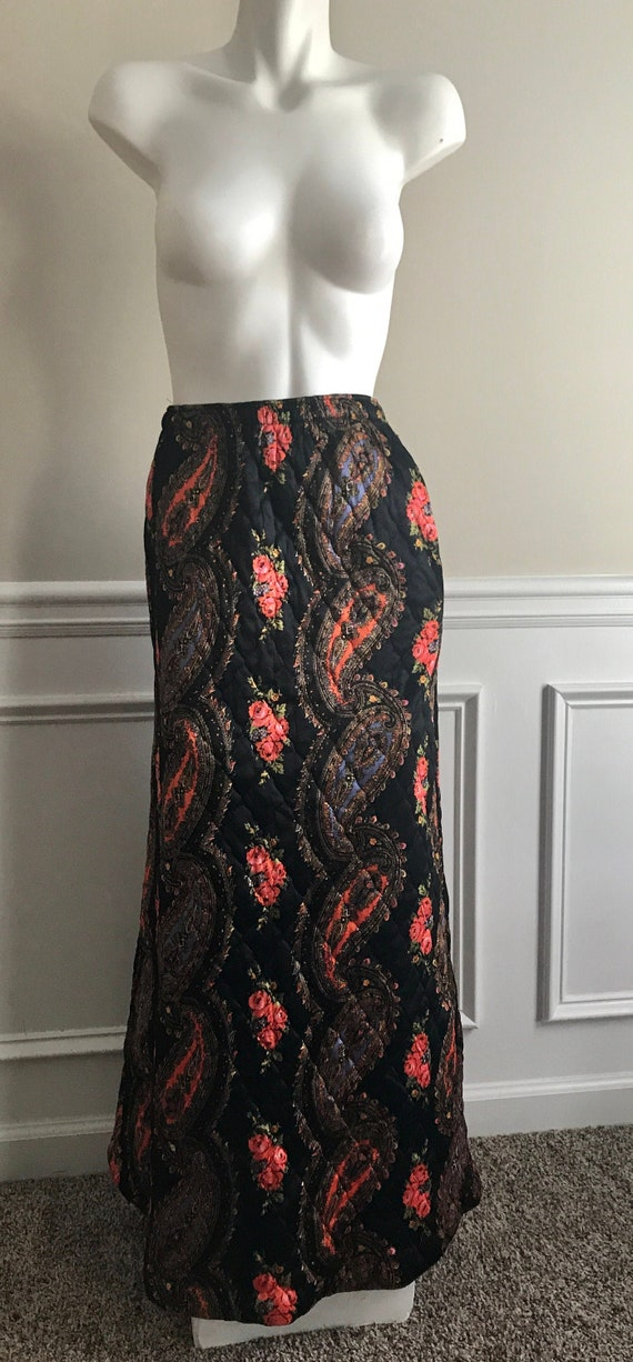 Quilted Paisley Hippie Maxi Skirt