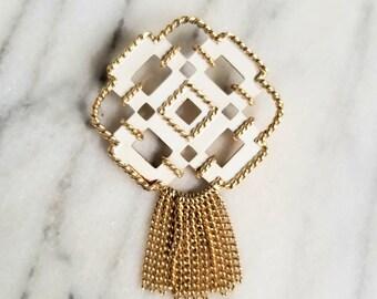 Modernist Geometric Wood Brooch Statement Jewelry