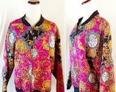 Vintage Pink Clock Quilted Zip Up Jacket. Large