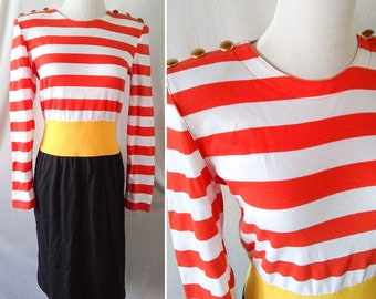 Vintage Adrienne Vittadini Nautical Color Blocked Dress. Medium Large