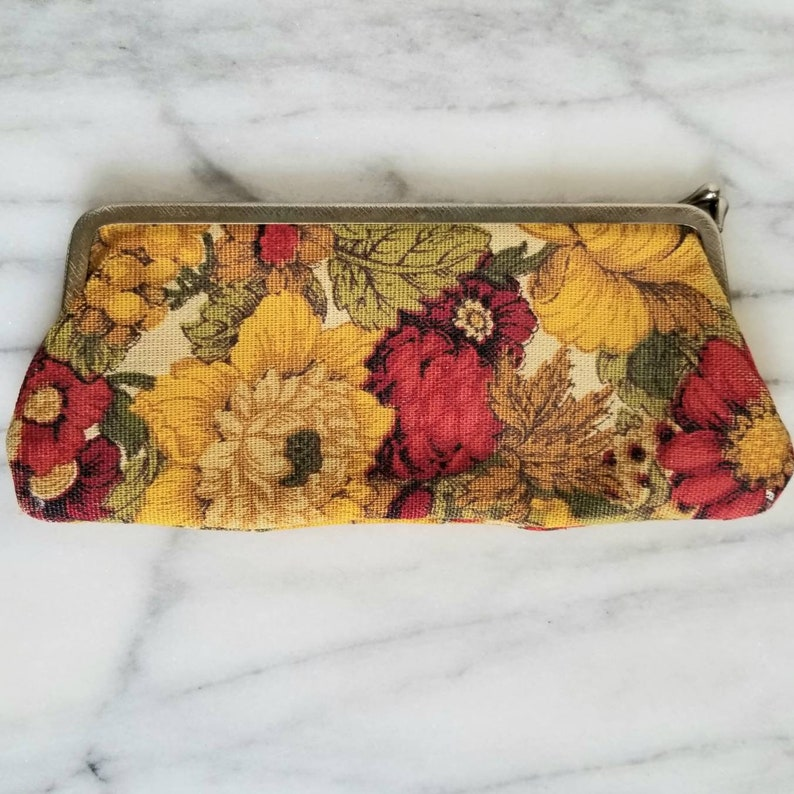 Vintage Floral Yellow and Red Kiss Lock Glasses Holder or Long Coin Purse